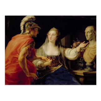 Cleopatra showing Octavius the bust of Julius Postcard