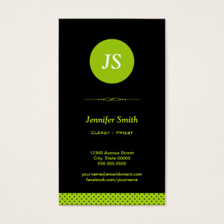Clergy / Priest - Stylish Apple Green Business Card