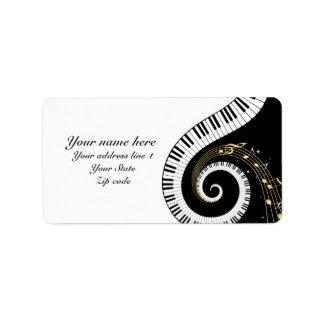 Clés de piano de monogramme et notes musicales étiquettes d'adresse