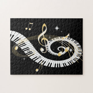 Clés de piano et notes d or de musique puzzle avec photo