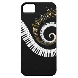Clés de piano et notes de musique d'or coque iPhone 5 Case-Mate
