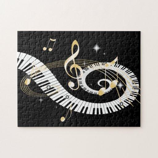 Clés de piano et notes d'or de musique puzzle avec photo