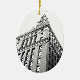 Cleveland Building Ceramic Oval Ornament