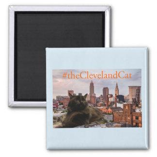 Cleveland Cat Skyline Blue Magnet