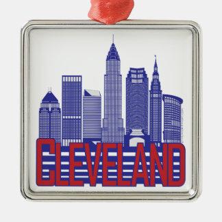 Cleveland City Colors Silver-Colored Square Ornament