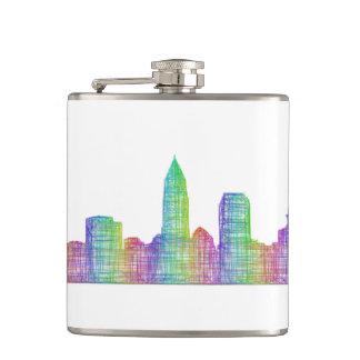 Cleveland city skyline flask