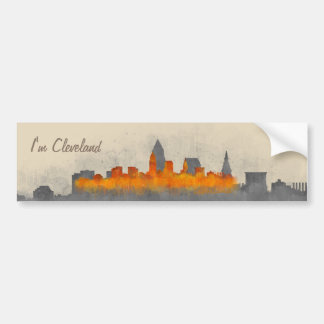 Cleveland City watercolor U.S. skyline v3.1 Bumper Sticker