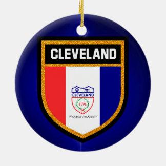 Cleveland Flag Round Ceramic Ornament