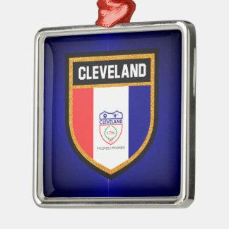 Cleveland Flag Silver-Colored Square Ornament