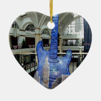 Cleveland Guitar III Ceramic Heart Ornament