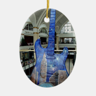 Cleveland Guitar III Ceramic Oval Ornament
