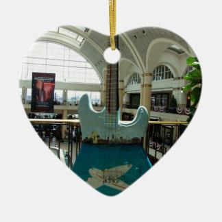 Cleveland Guitar IV Ceramic Heart Ornament