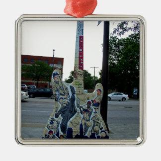 Cleveland Guitar VI Silver-Colored Square Ornament