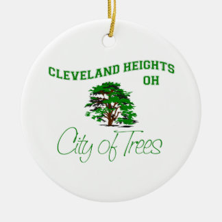 Cleveland Heights, OH - City of Trees Round Ceramic Ornament