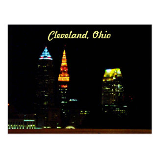 Cleveland Night Skyline Postcard