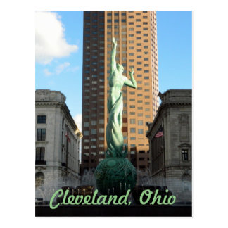 Cleveland, OH Fountain(Green) in Sunshine Postcard