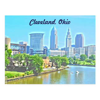 Cleveland,OH River View (Paint Effect) Postcard