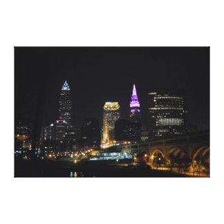 Cleveland OH River View Purple Canvas