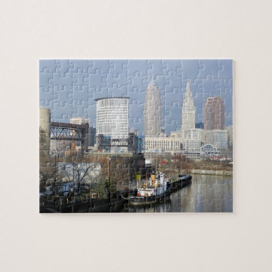 Cleveland OH River View (with Tugboat) Puzzle