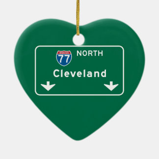 Cleveland, OH Road Sign Ceramic Heart Ornament