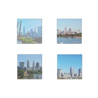 Cleveland, Ohio 4 Skyline Stone Magnets
