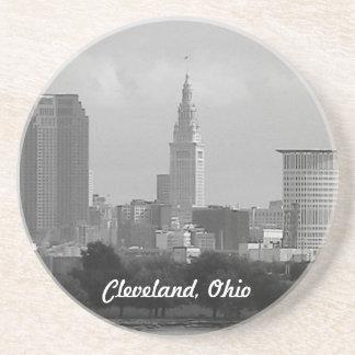Cleveland, Ohio (B&W) Skyline Sandstone Coaster