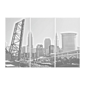 Cleveland, Ohio BW Panels Morning Skyline Canvas Print