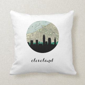 Cleveland, Ohio | Cleveland vintage map Throw Pillow