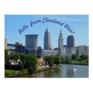 Cleveland Ohio (Curved Text) Skyline Postcard
