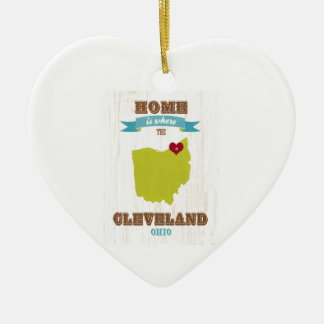 Cleveland, Ohio  Map – Home Is Where The Heart Is Ceramic Heart Ornament