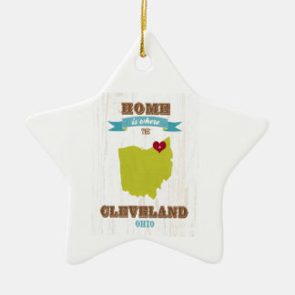 Cleveland, Ohio  Map – Home Is Where The Heart Is Ceramic Star Ornament