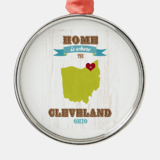 Cleveland, Ohio  Map – Home Is Where The Heart Is Silver-Colored Round Ornament