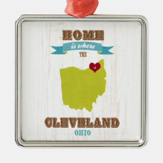 Cleveland, Ohio  Map – Home Is Where The Heart Is Silver-Colored Square Ornament
