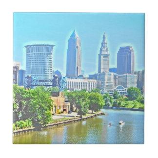 Cleveland, Ohio Paint Effect Decorative Tile