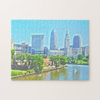Cleveland Ohio River View (Paint Effect) Puzzle