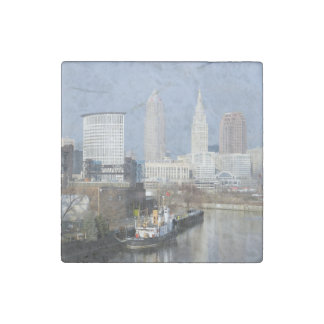 Cleveland, Ohio (River View w/Tugboat) Stone Magnets