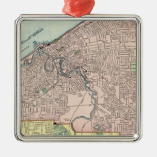 Cleveland, Ohio Silver-Colored Square Ornament