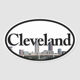 Cleveland, Ohio Skyline with Cleveland in the Sky Oval Sticker