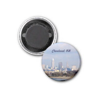 Cleveland, Ohio View (Edgewater)Magnet 1 Inch Round Magnet