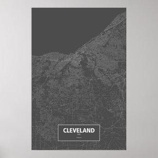 Cleveland, Ohio (white on black) Poster
