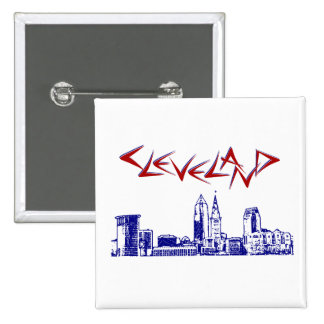 Cleveland Skyline 2 Inch Square Button