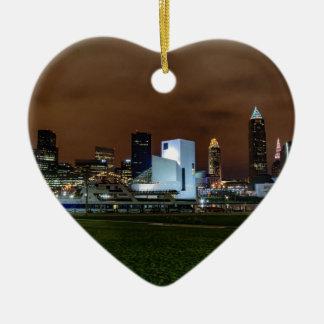 Cleveland Skyline at Night Ceramic Heart Ornament