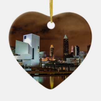 Cleveland Skyline at Night Ceramic Heart Ornament