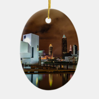 Cleveland Skyline at Night Ceramic Oval Ornament