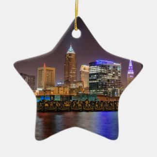 Cleveland Skyline at Night Ceramic Star Ornament