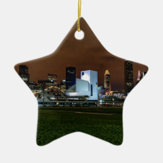 Cleveland Skyline at Night Ceramic Star Ornament