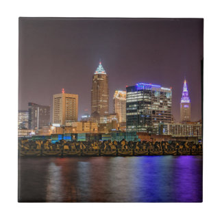 Cleveland Skyline at Night Ceramic Tiles