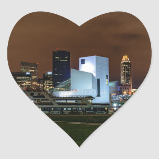Cleveland Skyline at Night Heart Sticker