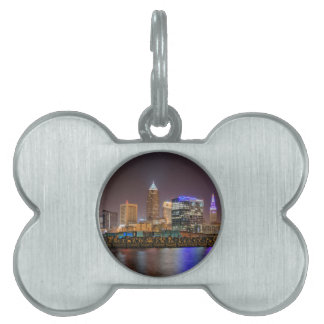 Cleveland Skyline at Night Pet Name Tags