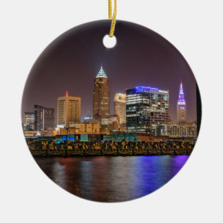 Cleveland Skyline at Night Round Ceramic Ornament
